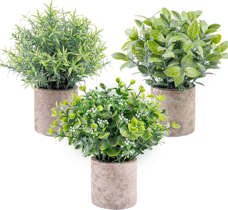Funarty Mini Fake Plants Artificial Potted Plants Fake Eucalyptus Plants Greenery for Home Décor Office Décor Centerpiece Décor Farmhouse Kitchen décor 3 Set