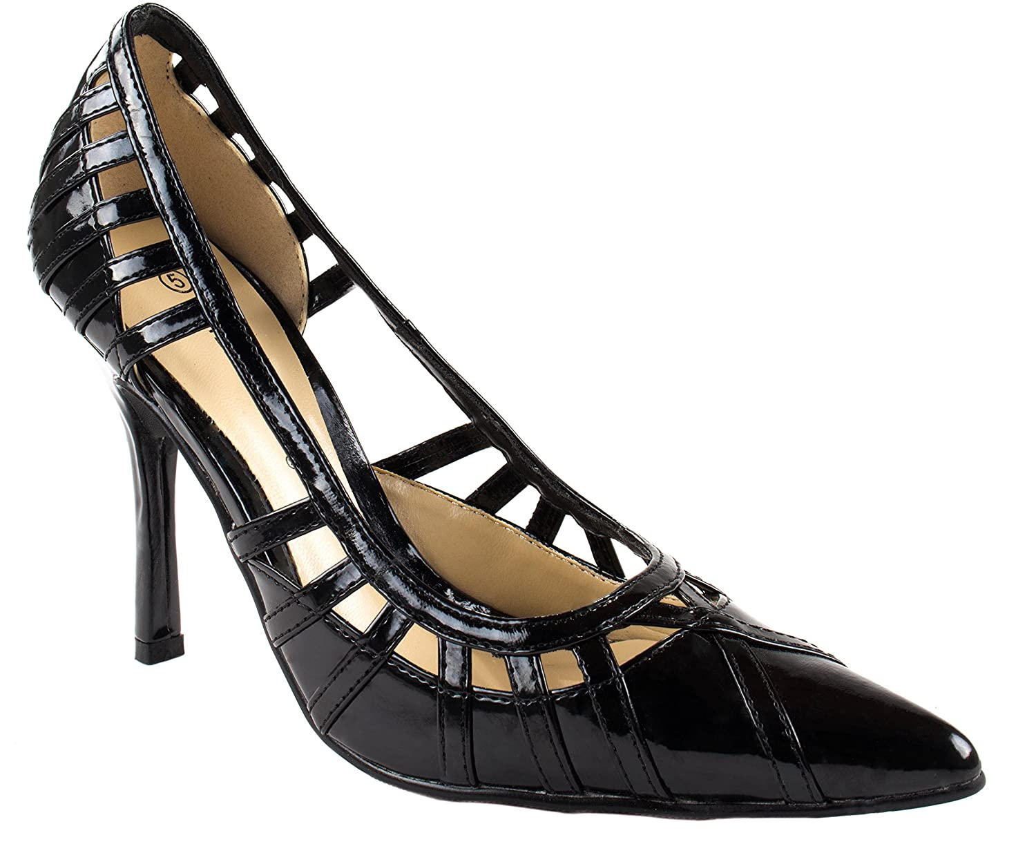 best Wild Diva Women's Aisha-01 Pointed Patent Leather Pumps with perforated Straps on Sides