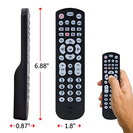 GE 40081 4-Device Universal Remote Control, Soft Blue LED Fully Backlit,  Sound Bar and Streaming Media Player Compatible, Preprogrammed for Roku and