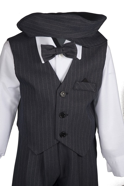 9b14e76d8f9b Amazon.com  Boys Grey Pinstripe Knicker Set with Vest in Baby ...