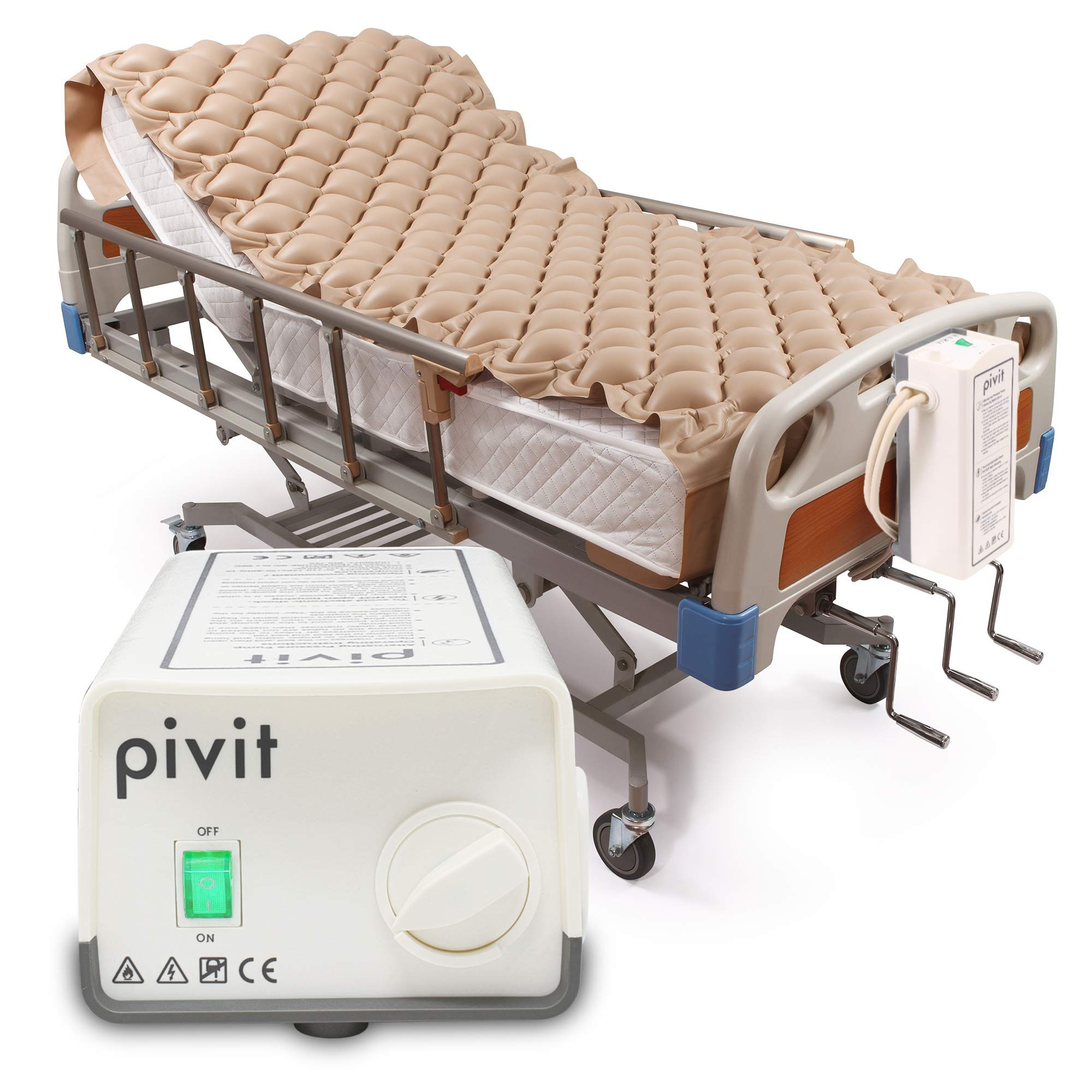 Pivit Alternating Pressure Mattress | Includes Electric Pump System and Mattress Pad Cover | Quiet Inflatable Bed Air Topper for Pressure Ulcer and Pressure Sore Treatment | Fits Standard Hospital Bed by pivit