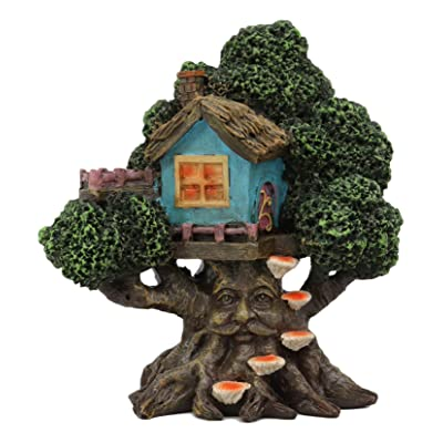 "Ebros Whimsical Forest Ent Greenman Cottage Blue Nook Tree House Statue with Mushroom Conk Steps 6.5"" High As Fairy Garden Treehouse Accessory Decor for Home Collectible Figurine: Kitchen & Dining"