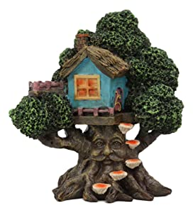 "Ebros Whimsical Forest Ent Greenman Cottage Blue Nook Tree House Statue with Mushroom Conk Steps 6.5"" High As Fairy Garden Treehouse Accessory Decor for Home Collectible Figurine"