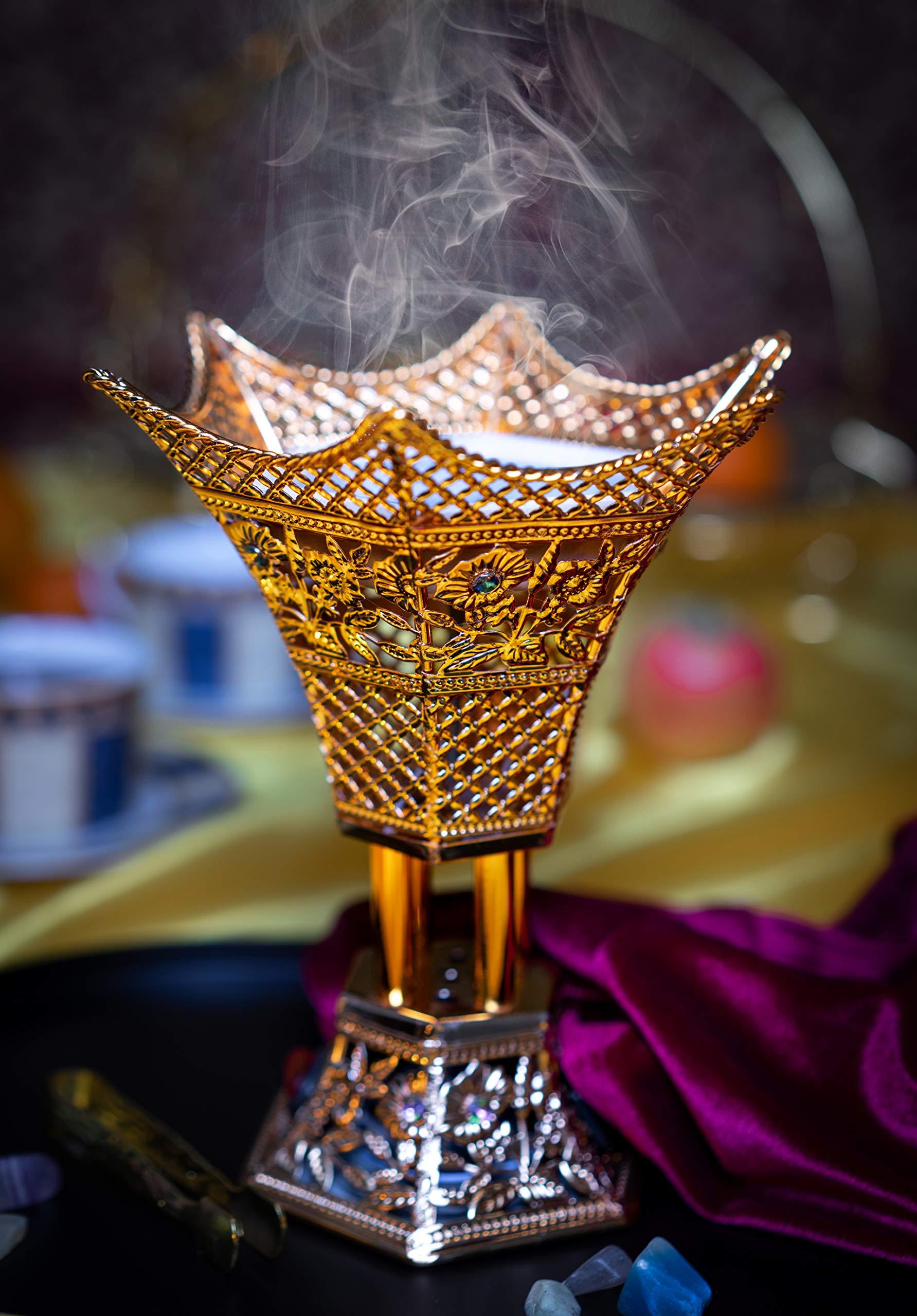 AM Bakhoor Charcoal Incense Burner - Oud Frankincense Resin Burner 10.5 Inches Tall - for Bakhoor Oud Incense Sticks Cones - Luxury Filigree, Gold by AM (Image #7)