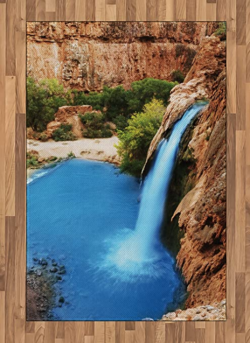 Amazon Com Lunarable Waterfall Area Rug Waterfall Cliff Vibrant Colors In Sunny Summer Day Wild Nature Image Flat Woven Accent Rug For Living Room Bedroom Dining Room 4 X 5 7 Pale Brown Green