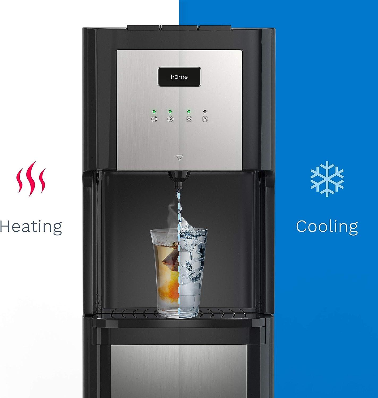Dispensador de agua hOmeLabs de carga inferior para botella de 3 o 5 galones, con temperatura de frío y calor, diseño de acero inoxidable y luz nocturna LED, dispensador de oficina en