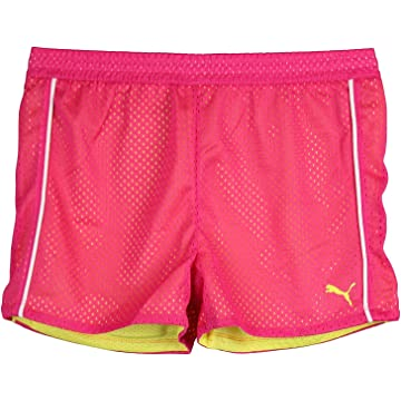 Puma Big-Girls Double Mesh Athletic Shorts Pink Yellow White Small