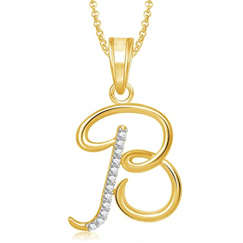 Buy Meenaz Gold Plated  B  Letter Pendant Locket Alphabet Heart With Chain  For Men And Women PS459 Online at Low Prices in India  27468971138