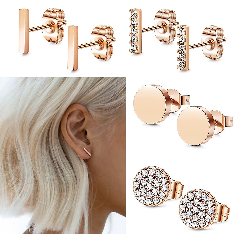 FIBO STEEL Stainless Steel CZ Bar Stud Earrings for Men Women Girls 1MWSE4P-S1