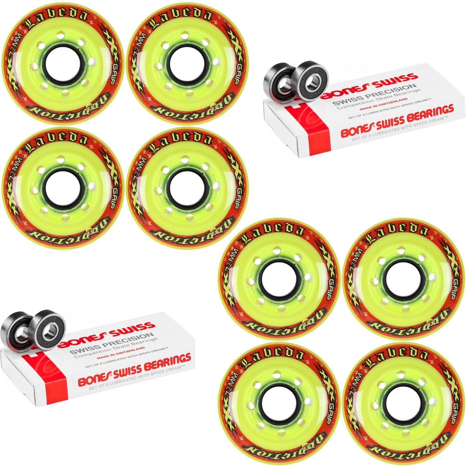 Labeda Addiction Wheels XXX Grip Yellow/Red 72mm Roller Hockey x8 +Bones Swiss