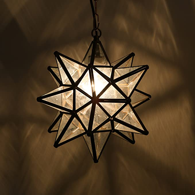 Amazon.com: Estrella de vidrio colgante luces, Transparente ...