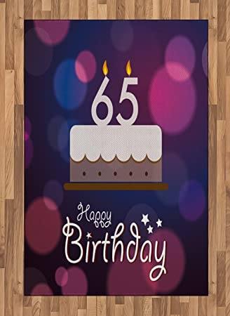 Ambesonne 65th Birthday Area Rug Ceremony Artwork With Cake Hand Writing Calligraphy Best Wishes