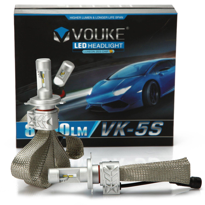 VK-5S H4 9003 HB2 8000LM LED Headlight Conversion Kit, Hi/Lo beam headlamp, Dual Beam Head Light, Halogen Head light Replacement, 6500K Xenon White, 1 Pair