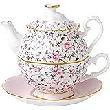 Royal Doulton 新乡玫瑰系列 花茶派对茶杯壶,粉色,一人份 粉色