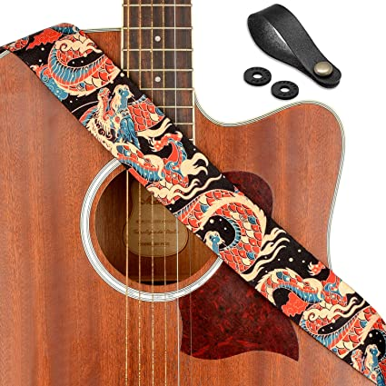 Colorful Dragon Guitar Strap Metal Bass Acoustic Electric Free Ship New Chinese
