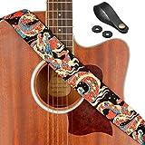 "Rinastore Guitar Strap Unique""Azure Dragon"" Shoulder Strap Includes Strap Button & 2 Strap Locks For Bass, Electric & Acoustic Guitars (Azure Dragon)"