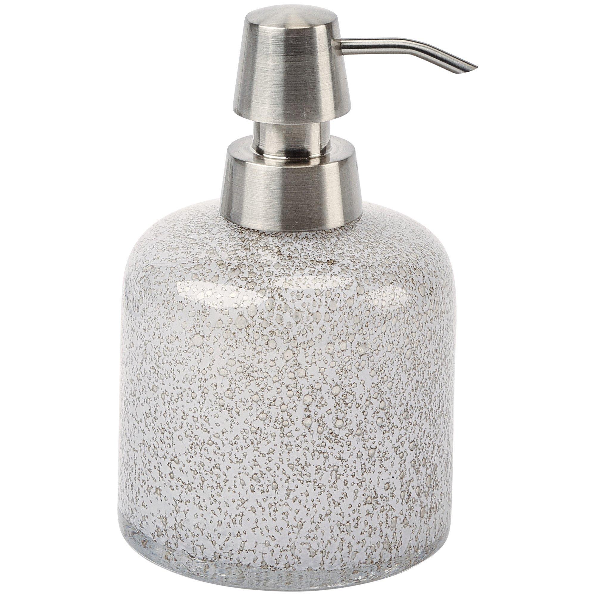 Fyra Round Bathroom or Kitchen Pump Liquid Soap Lotion Dispenser, Glass (White)
