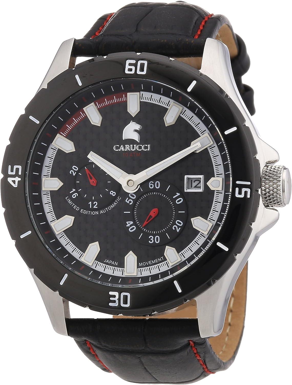Carucci Watches CA2187RD - Reloj analógico automático para Hombre, Correa de Cuero Color Negro (Agujas luminiscentes, Cifras luminiscentes)