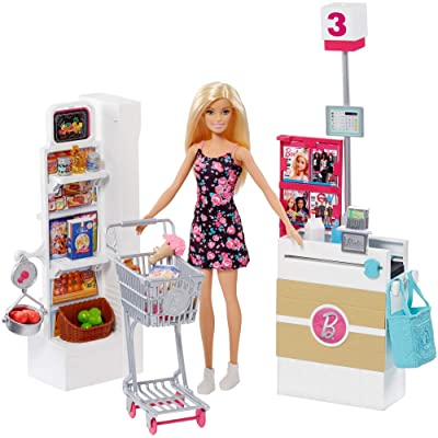 Barbie Doll, Blonde, and Grocery Store with Rolling Cart and Working Belt: Toys & Games [5Bkhe1806872]
