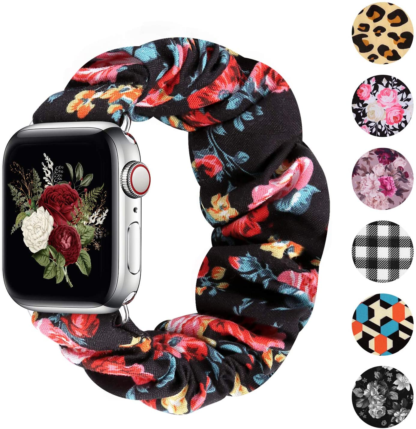 Greatfine Compatible for Apple Watch Band Scrunchie 38mm 40mm 42mm 44mm,Soft Elastic Strap Watch Bands,With iWatch Series 6 SE 5 4 3 2 1,S L Printing Replacement Wristband for Women Men(38/40mm-S)