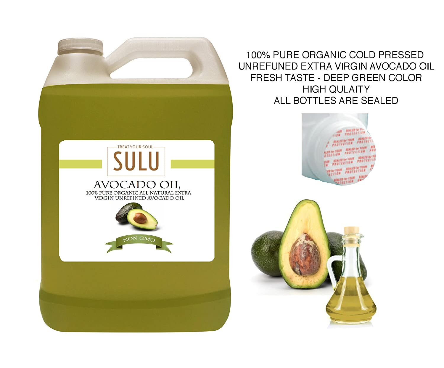 1 Gallon (128 OZ) 100% Pure Organic Cold Pressed Unrefined Extra Virgin Raw Avocado Oil All Natural