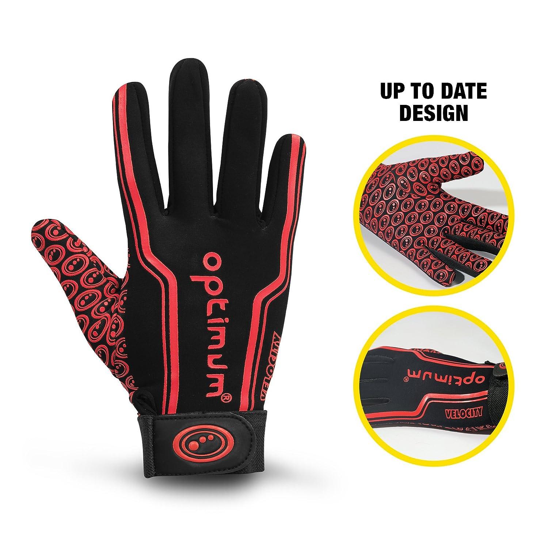 Large Black//Red Optimum Senior Velocity Rugby Gloves