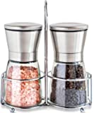 Salt and Pepper Mills Set with Stainless Steel Stand ,Adjustable Coarseness Premium Brushed Stainless Steel Pepper and Salt Shakers ,Salt and Pepper Grinder Set (2 Packs)