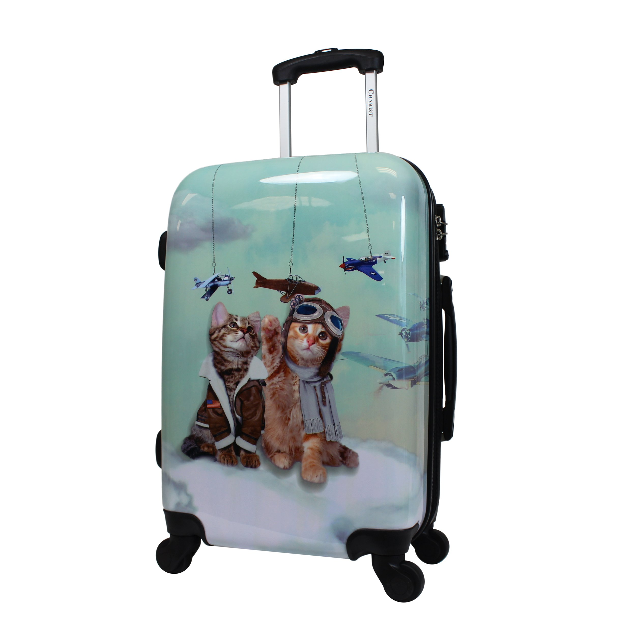 Chariot 20'' Lightweight Spinner Carry-on Upright Suitcase - Cat Pilots