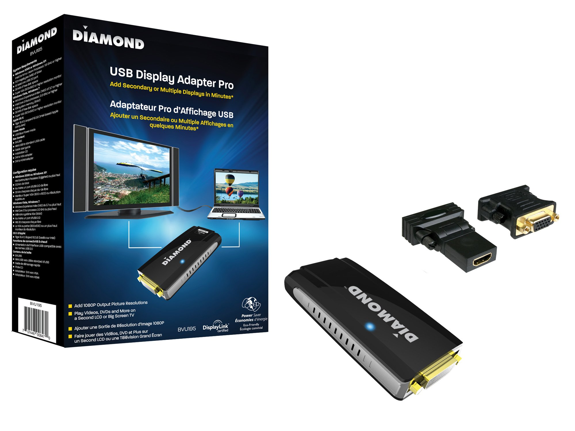 Diamond Multimedia BVU195 USB 2.0 to VGA/DVI / HDMI Video Graphics Adapter up to 2048x1152 / 1920x1080 - Windows 10, 8.1, 8, 7, XP, MAC OS and Android 5.0 and higher