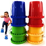 "Matty's Toy Stop Bucket Stilts Plastic Balancing Stilts 4.75"" (Red, Blue, Green & Yellow) Gift Set Bundle - 4 Pairs (8 Stilts"
