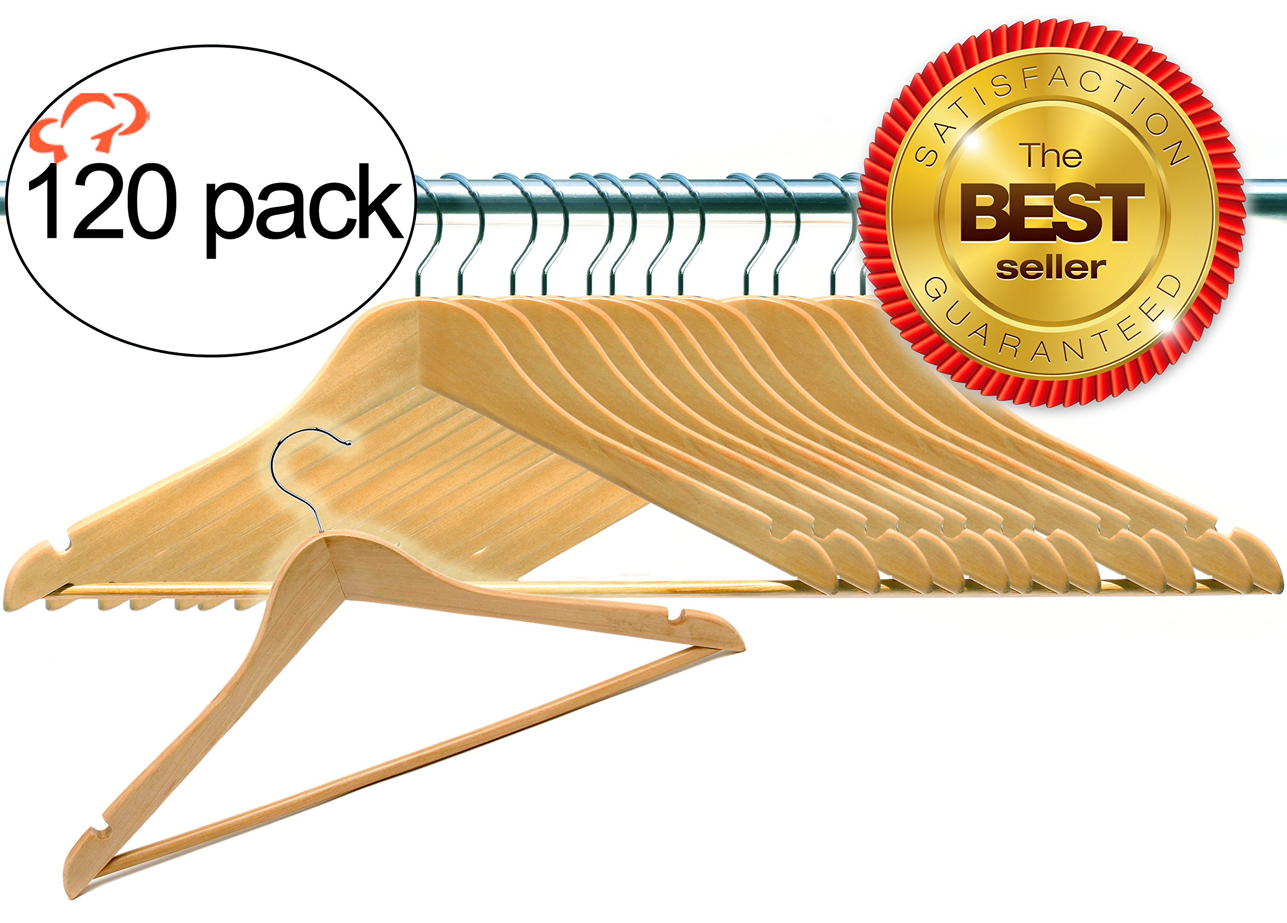 Tiger Chef 120 Pack Multifunctional Natural Solid Wood Slim Suit, Trousers and Coat Hangers (120 Pack)