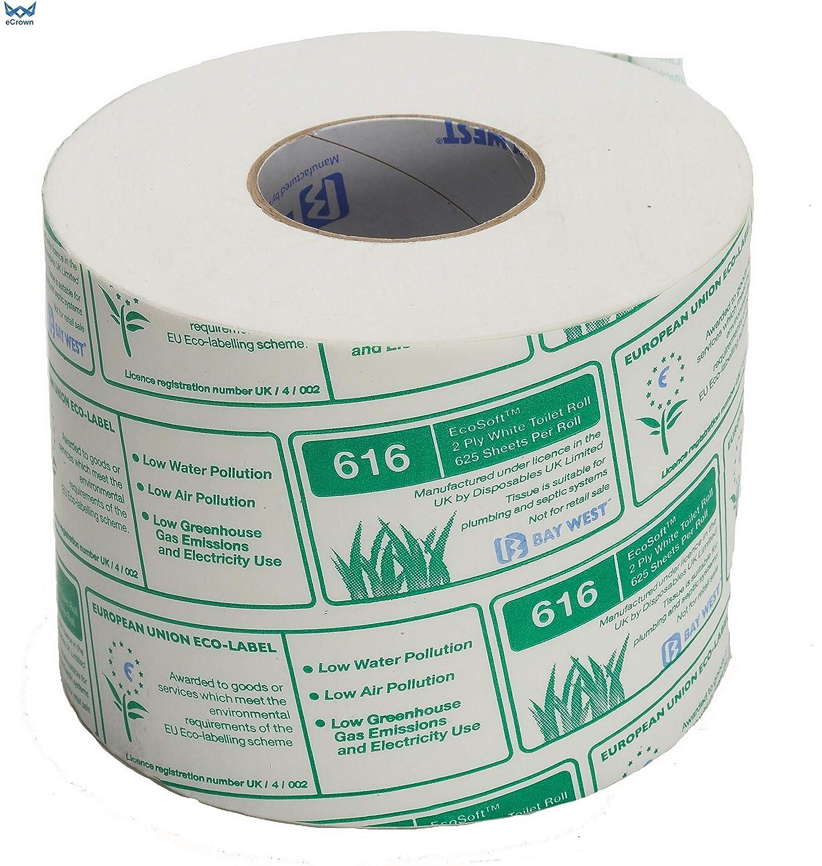 Bay West Ecosoft 625 Toilet Rolls 2 Ply White ~ 36 Rolls eCrown