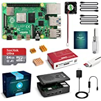 LABISTS Raspberry Pi 4 Starter Kit with 4GB RAM Board, 64GB Micro SD Card Noobs, 3A Power Supply with On/Off Switch, Cooling Fan and 3 Heatsinks, Premium Black Case and Other Necessary Accessories