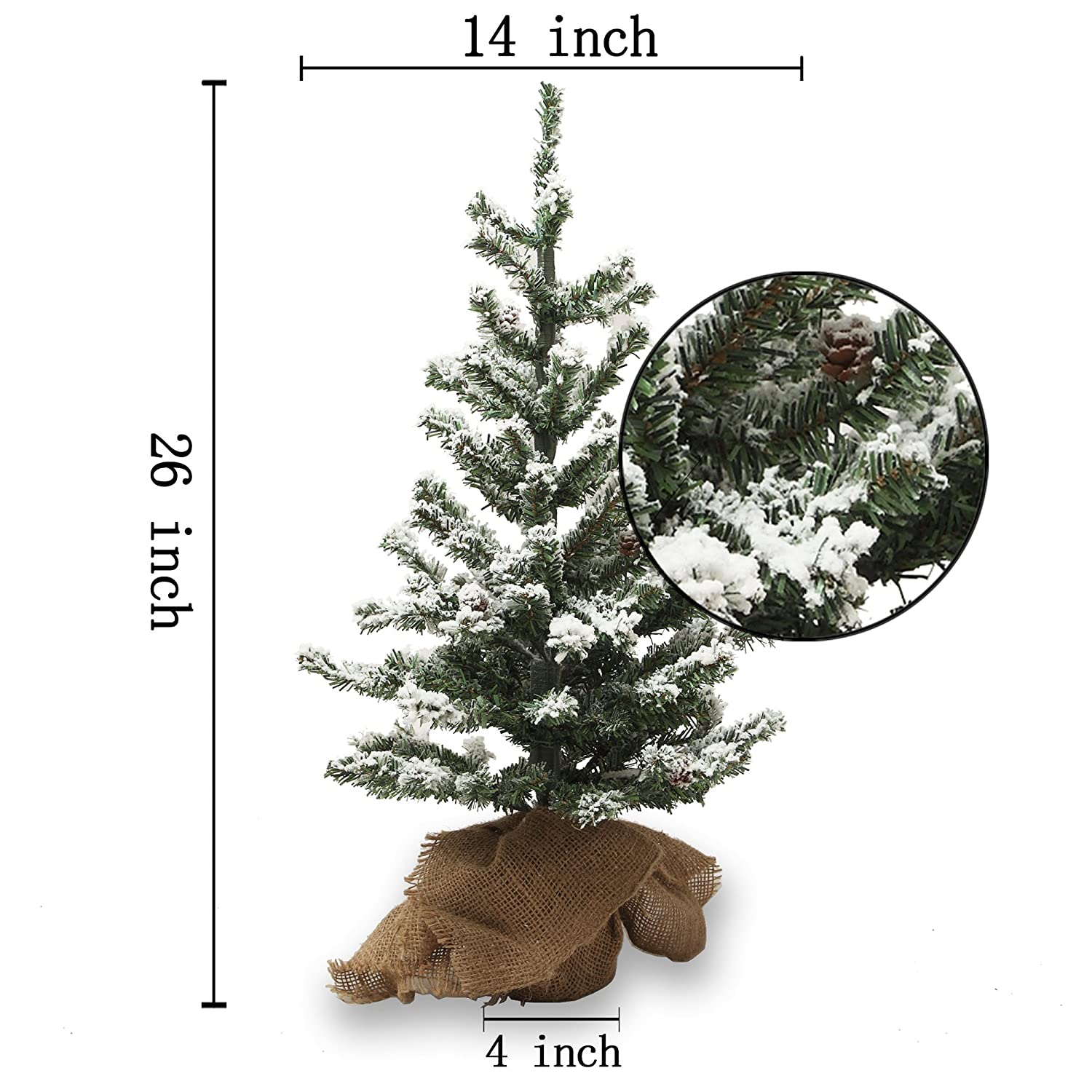 Amazoncom 26 Inch Small Artificial Christmas Tree Snow Tree With