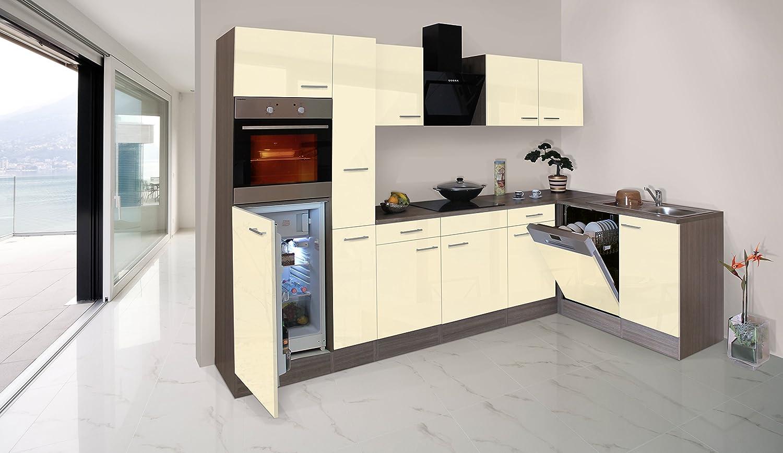 respekta Economy L-Form Winkel Küche Küchenzeile Eiche York vanille 310x172cm