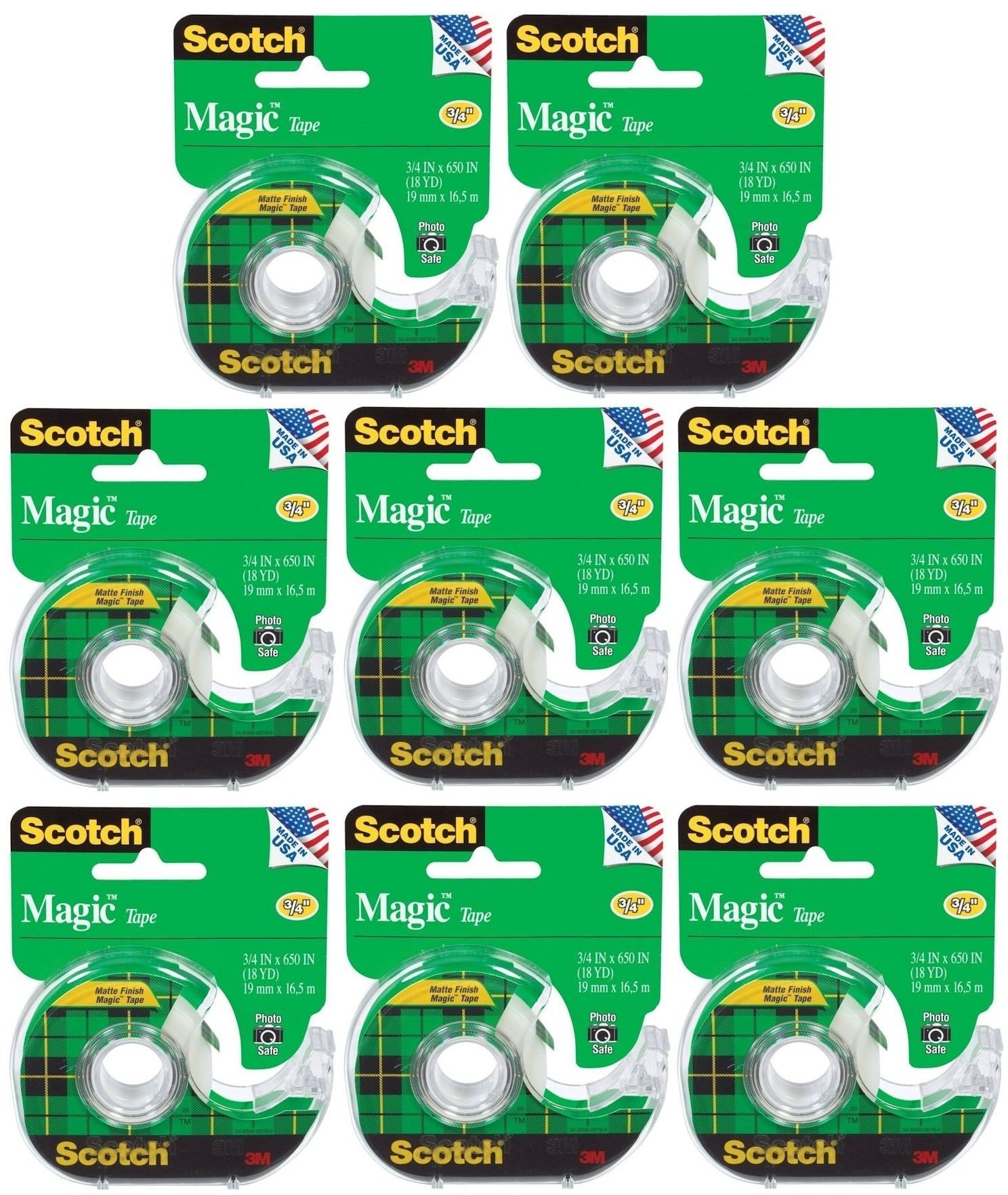 Scotch Magic Office Tape, 0.75 Inch x 18 Yards, Clear (Pack of 8)