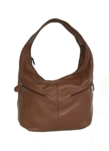 a54c16a600bc Amazon.com  Fgalaze Brown Leather Slouchy Hobo Bag w Pockets