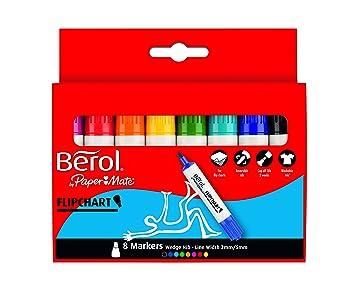 Berol - Rotulador no permanente para pizarras blancas (colores surtidos, 8 unidades)