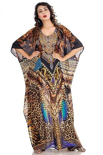 cd49c4336bd Amazon.com  Beautiful womans one piece jewelled full length resort wear  beach coverup kaftan dress gorgeous silk kaftan evening maxi gown  Handmade
