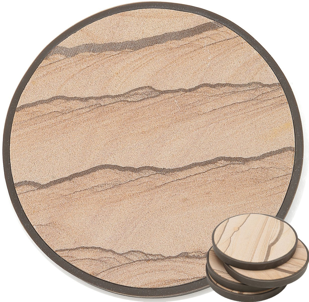 Stone Coasters in Protective Casing - Absorb Excess Drinks Sweat, Prevent Scratch To Furniture, Each Absorbent Sandstone Sit In A Detachable Table Friendly Non Slip Back Cover, Set of 4 With NO Holder Enkore StoneCoffe4