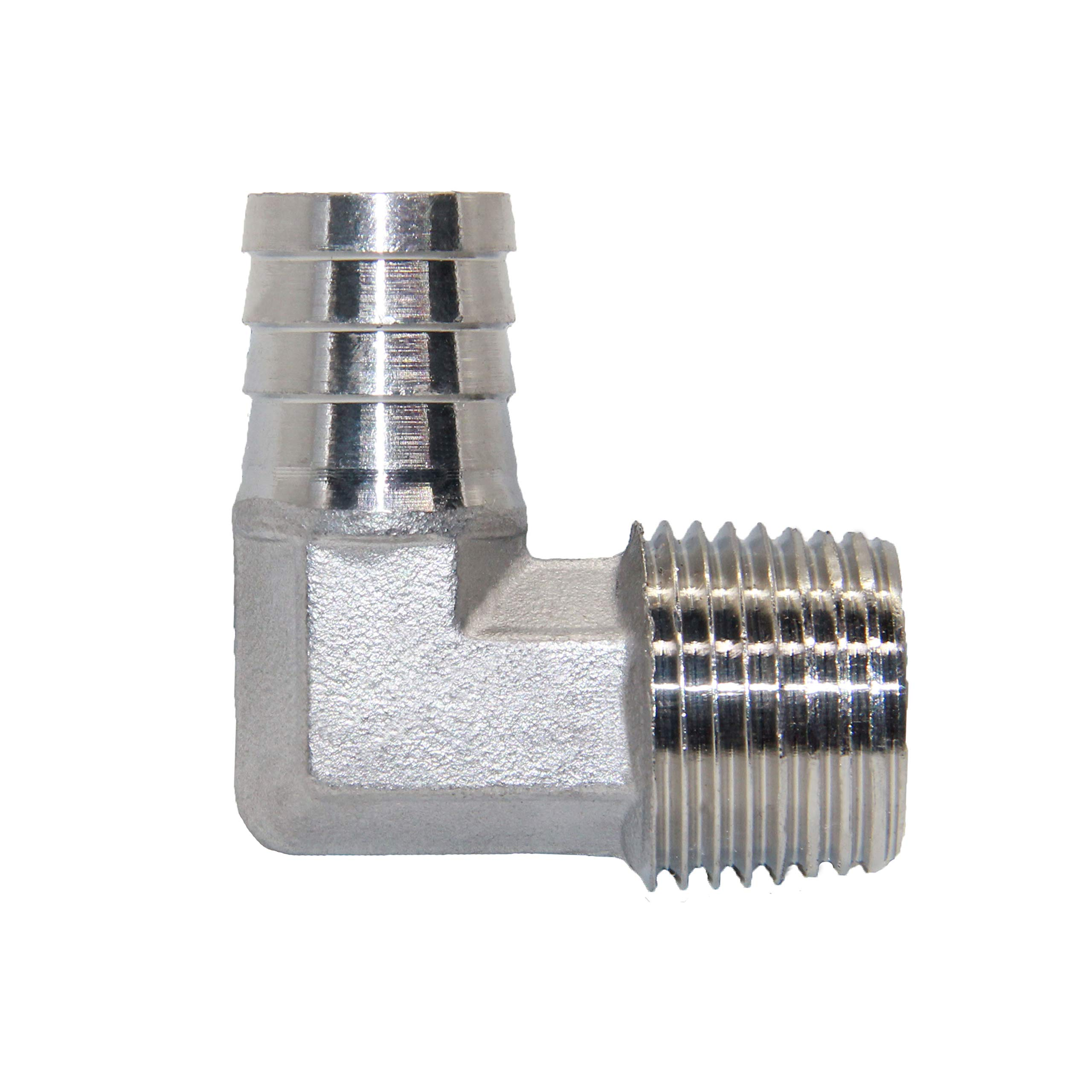 Joywayus Stainless Steel Hose Fitting 90 Degree Elbow 3/4'' Barb x 3/4''NPT Male Pipe Water/Fuel/Air