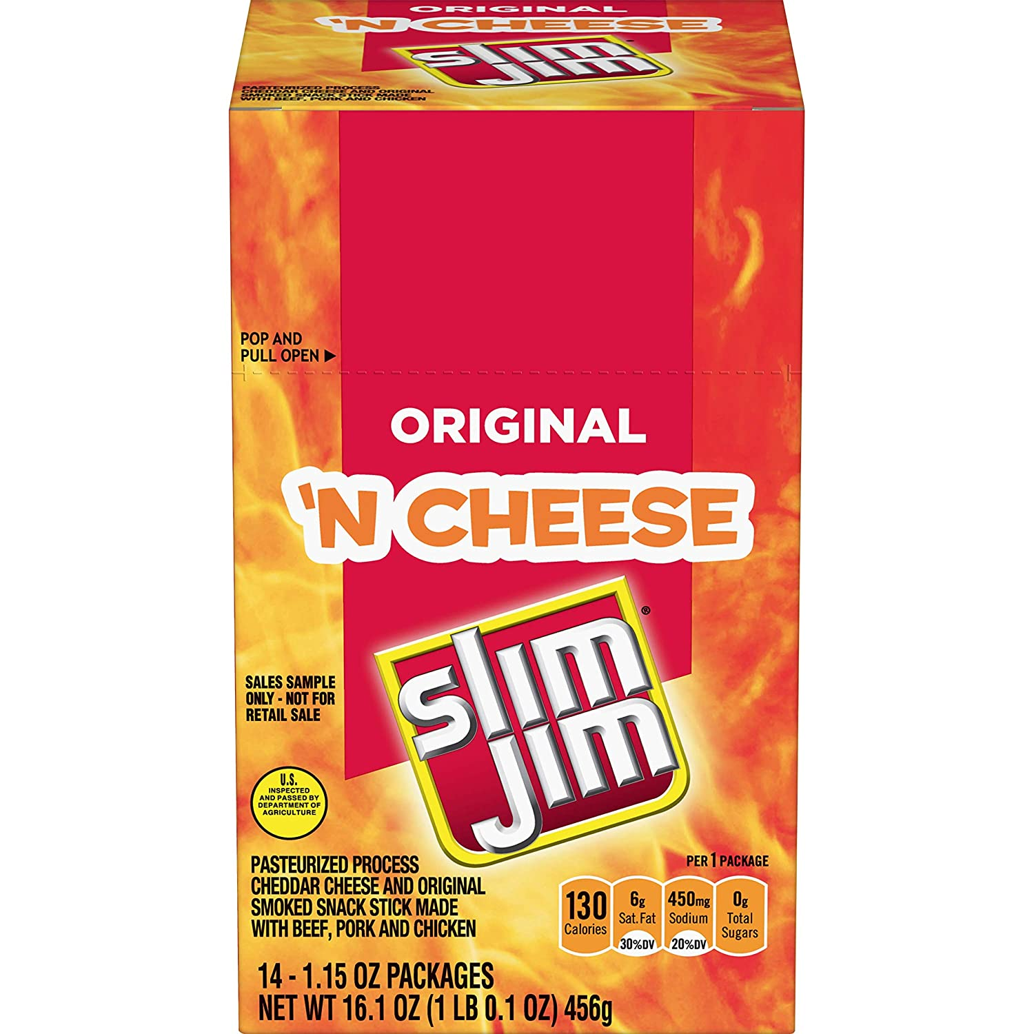 Slim Jim Cheese Original, 1.15 Oz (Pack Of 14)