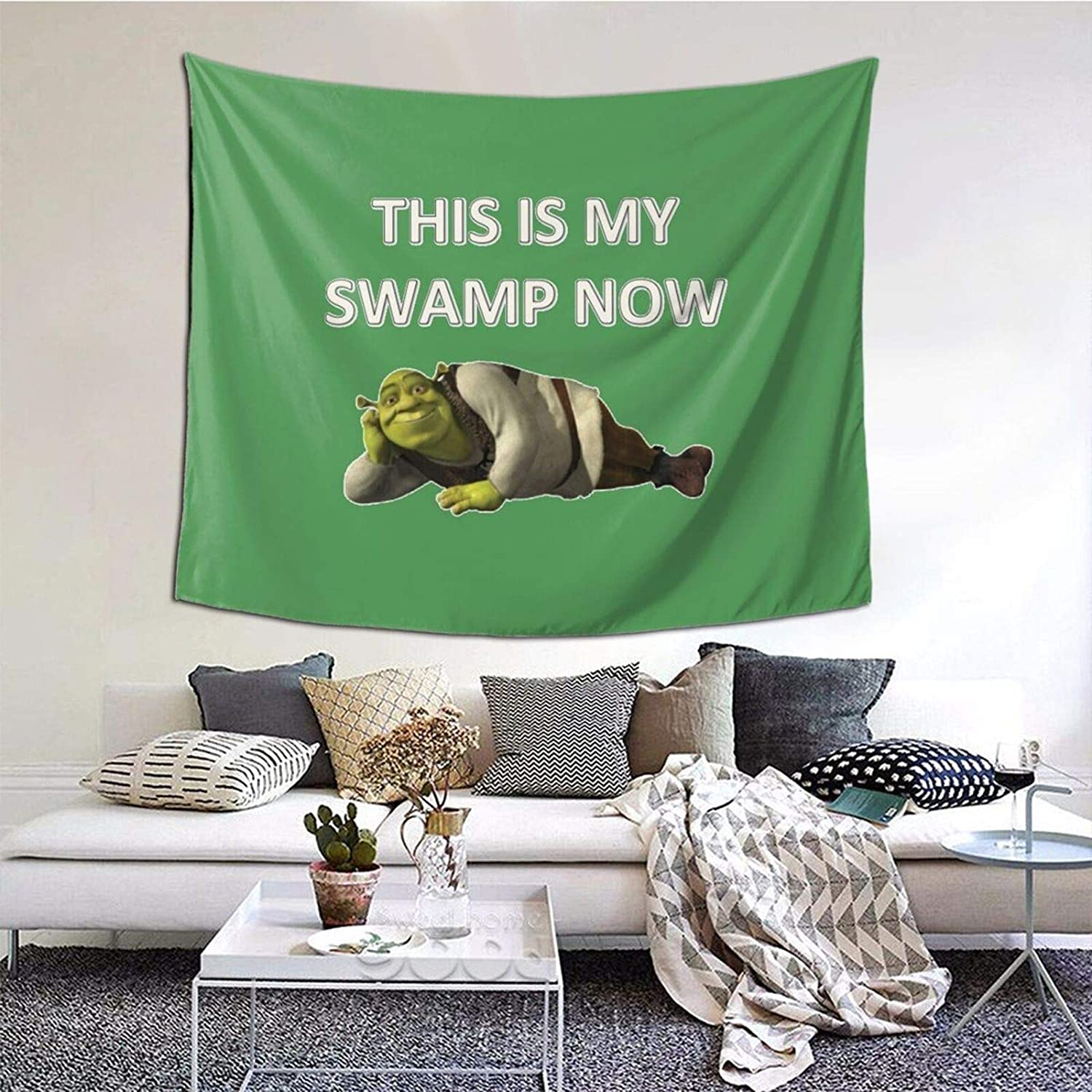 """Hyuuga Shrek This is My Swamp Now Tapestry Wall Hanging Anime Tapestries Wall Art Wall Tapestry Home Decor for Living Room Bedroom Dorm - 51"""" X 60"""""""
