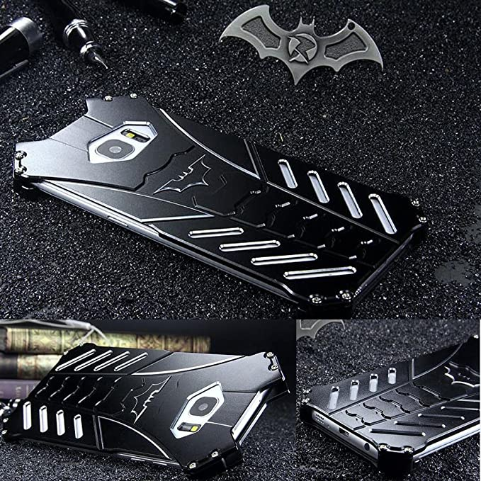 reputable site 3eb33 0c5f5 For Samsung Galaxy S7 Edge Case, R-JUST Luxury Batman Aluminum Shell Bumper  Shockproof Tough Armor Metal Back Case Skin Protective Cover + Bat ...
