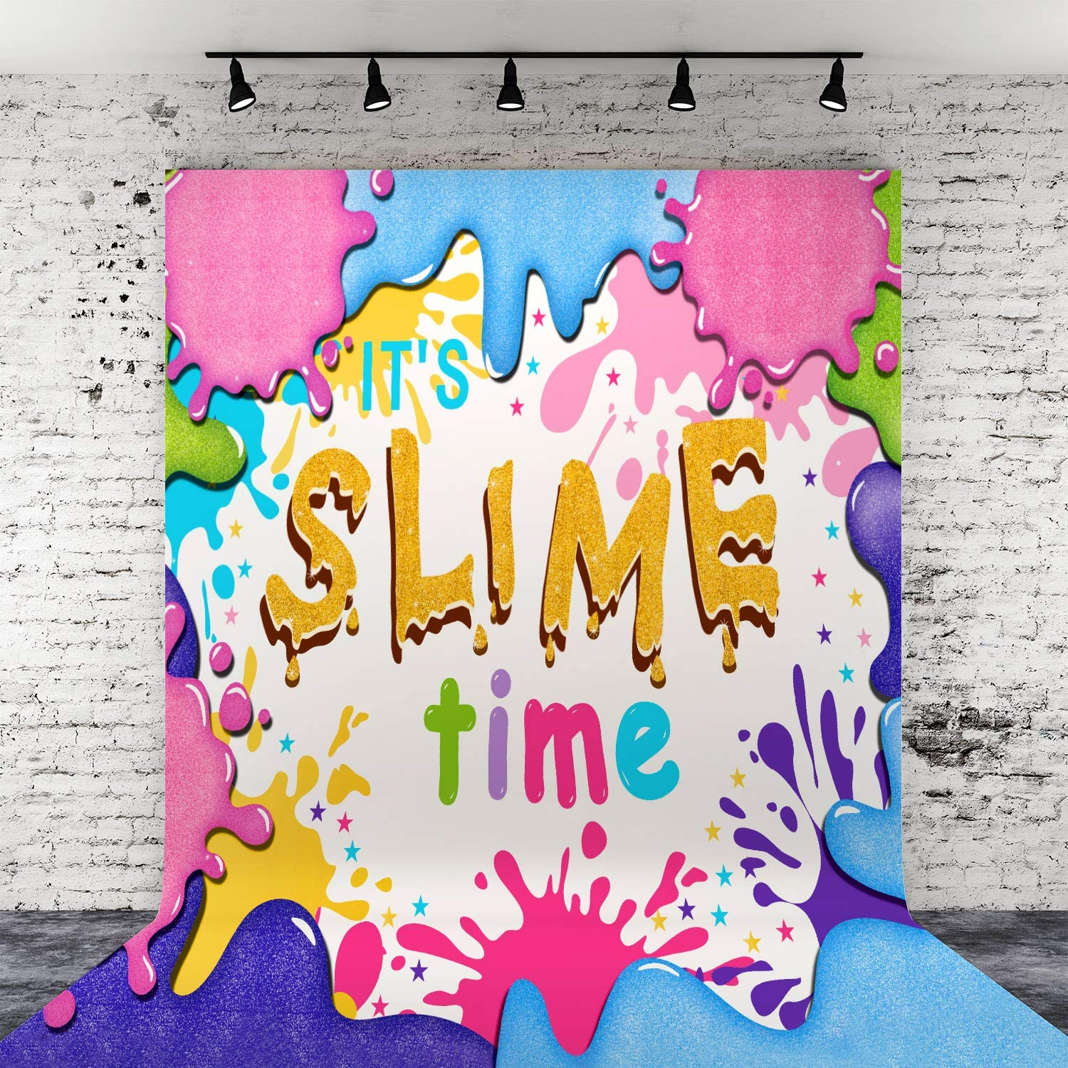 Slime Vinyl Backdrop Glitter Slime Birthday Party Photography Background for Party Decoration Photo Studio Booth Props Banner (4 x 5 ft)