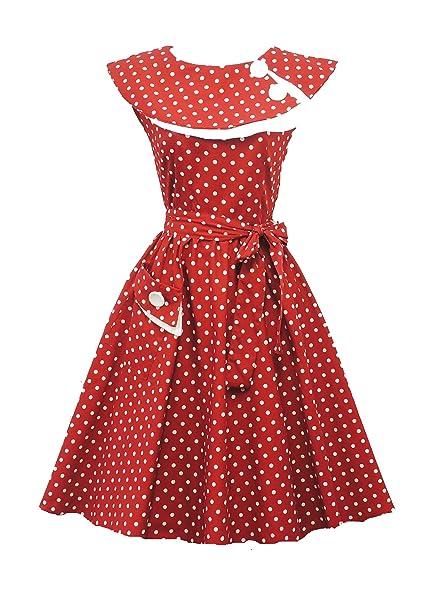 Rosa Rosa Vintage 1950s Retro Rojo Lunares Rockabilly Fiesta Graduación Swing Vestido De Tarde - Rojo