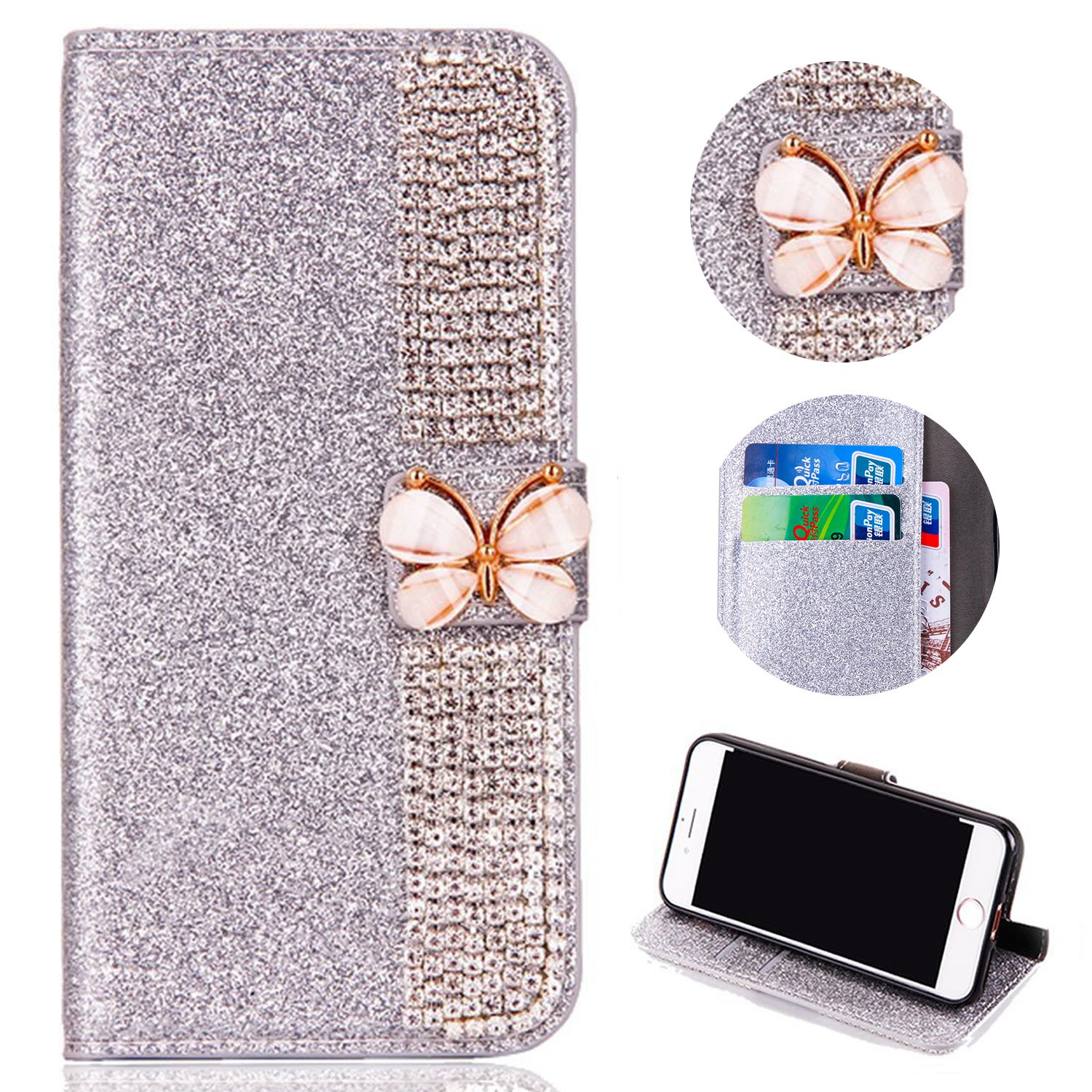Bling Glitter Case for iPhone XR 6.1 inch,Shinyzone Luxury Diamond [3D Butterfly Magnetic Buckle] [Stand Feature] PU Leather Wallet Protective Cover for iPhone XR 6.1 inch,Silver