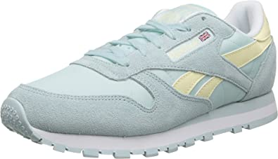 09e5c242756 Reebok CL Leather Seasonal I Womens Classics Shoe 11 Whisper Blue-Washed  Yellow-White