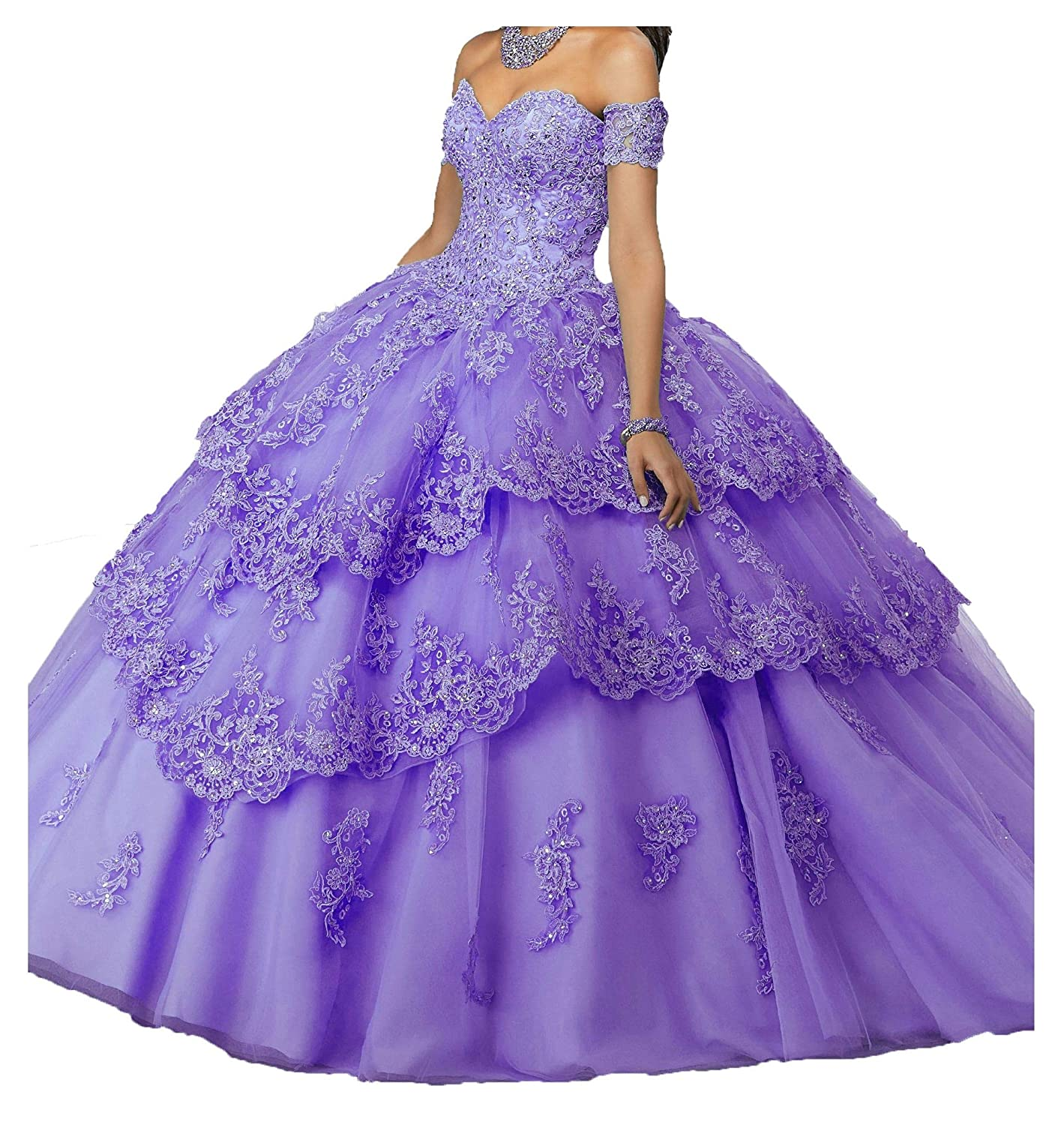 purplec a MFandy New Sweetheart Girls 16 Quinceanera Dress Appliques Beaded Ball Gowns