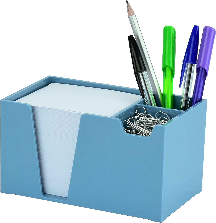 Acrimet Desktop Organizer Pencil Paper Clip Caddy Holder (Plastic) (with Paper) (Solid Blue Color)
